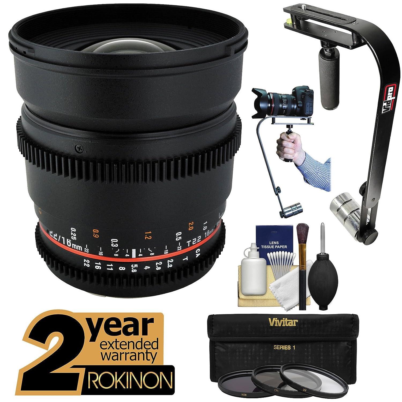 Rokinon 16 mm T / 2.2 Cine広角レンズ2年のExt。保証+ステディカム+ 3フィルタキットfor Sony Alpha DSLR SLT - a57 , a58 , a65 , a77 , a99デジタル一眼レフカメラ   B00JKRBJOU