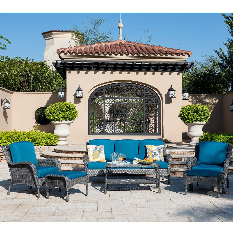Ovios patio furniture set 6 pc outdoor furniture set wicker rattan sofa set with cushions table outdoor garden furniture sets 6 piece gray wickernavy