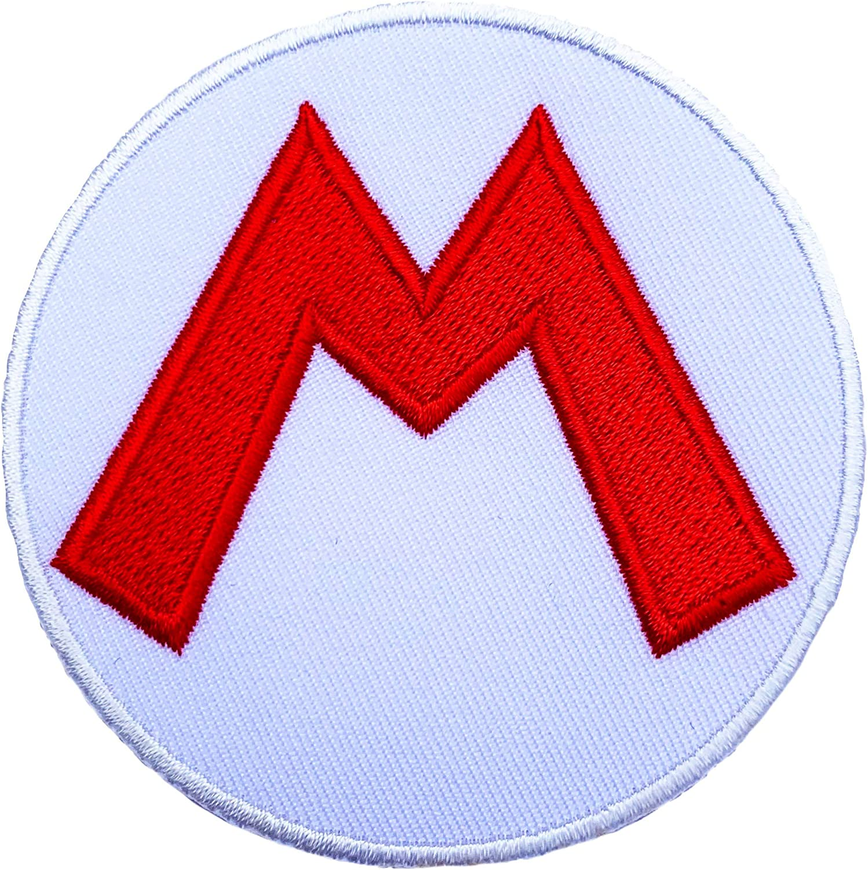Con diseño de súper Mario M logotipo de marca bordado con escudo ...