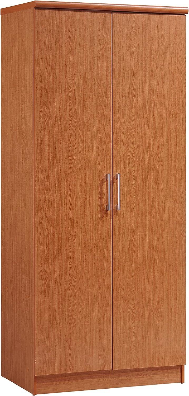 Hodedah 2 Door Wardrobe with Adjustable/Removable Shelves & Hanging Rod, Cherry