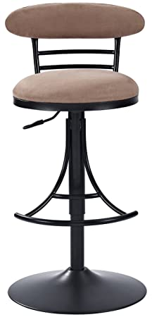Crosley Furniture CF521026BK-BR Jasper Swivel Counter Stool, 26-inch, Black with Brown Cushion