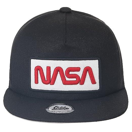 ililily NASA Worm Logo Embroidery Baseball Cap Mesh Snap Back Trucker Hat (Medium, Black Flat): Amazon.es: Ropa y accesorios