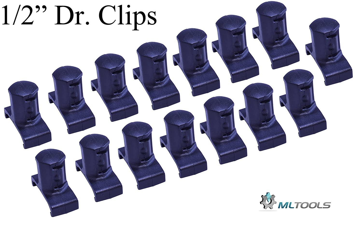 ML TOOLS 3//8 Inch 15 piece Black Dura pro Twist Lock Socket Organizer Clips with 96 ID Stickers Made in usa T8254-3//8-Clips