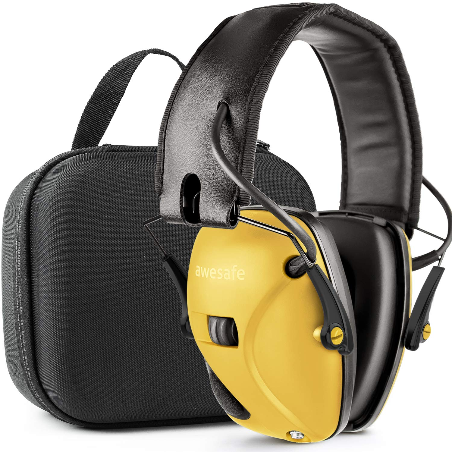 Awesafe Ear Protection for Shooting Range,Electronic Hearing Protection for Impact Sport [with Travel Storage Carrying Case Bag],Safety Ear Muffs, NRR 22, Ideal for Shooters and Hunting,Yellow by awesafe