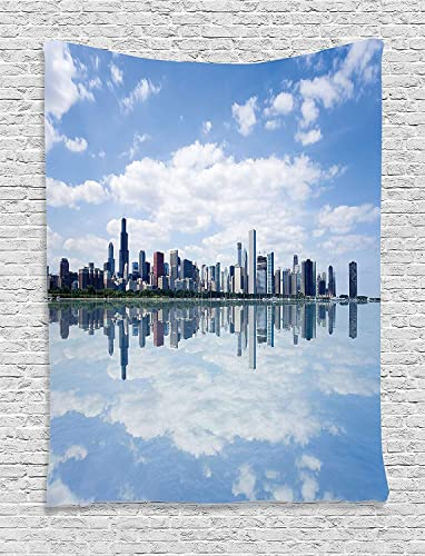 Ambesonne United States Tapestry, Chicago Waterfront View Modern City Reflection Shore Scenery Cloudscape, Wall Hanging for Bedroom Living Room Dorm Decor, 60 X 80 , White Grey