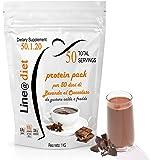 Dieta Proteica WHEY PROTEIN-SHAKE da 1 KG (50 porzioni) GUSTO CACAO preparato proteico per dieta proteica 80KCAL per dose PROTEIN PACK Line@, da oggi con un formato convenienza: un gusto dolce per iniziare una dieta con gusto! squisita per uno spuntino proteico in modo light con sole 80 kcal per porzione, ricca di proteine (15grammi per dose)