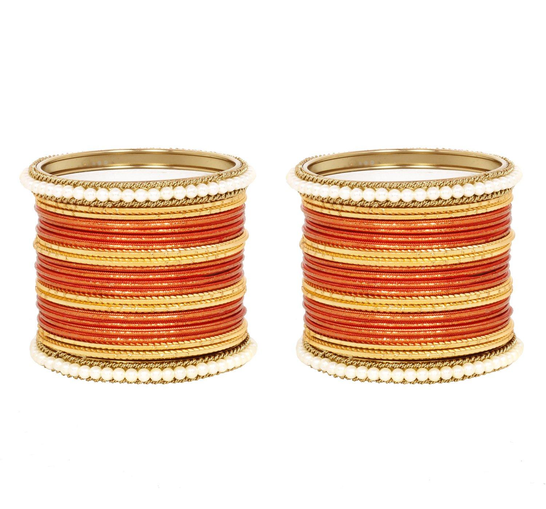 Ratna Orange color Beautiful Indian bangle set women wedding wear 44 pcs Ethnic bangles jewellery (2.4)
