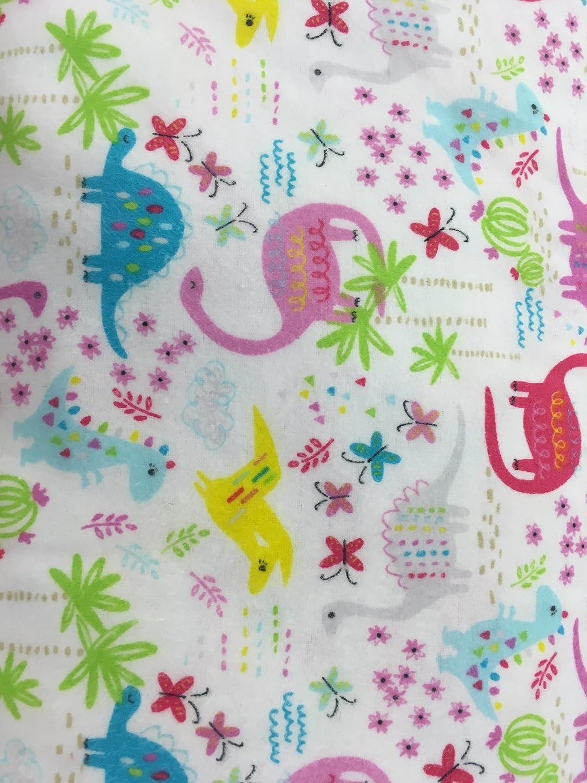 Dinosaur Flannel Fabric ~ Pink Floral Design 100% Cotton Flannel