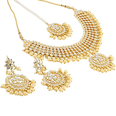 550f6010ca035 Shining Diva Fashion Jewelry Gold Plated Kundan Pearl Fancy Necklace Set  Traditional Jewellery Set with Earrings for Women & Girls