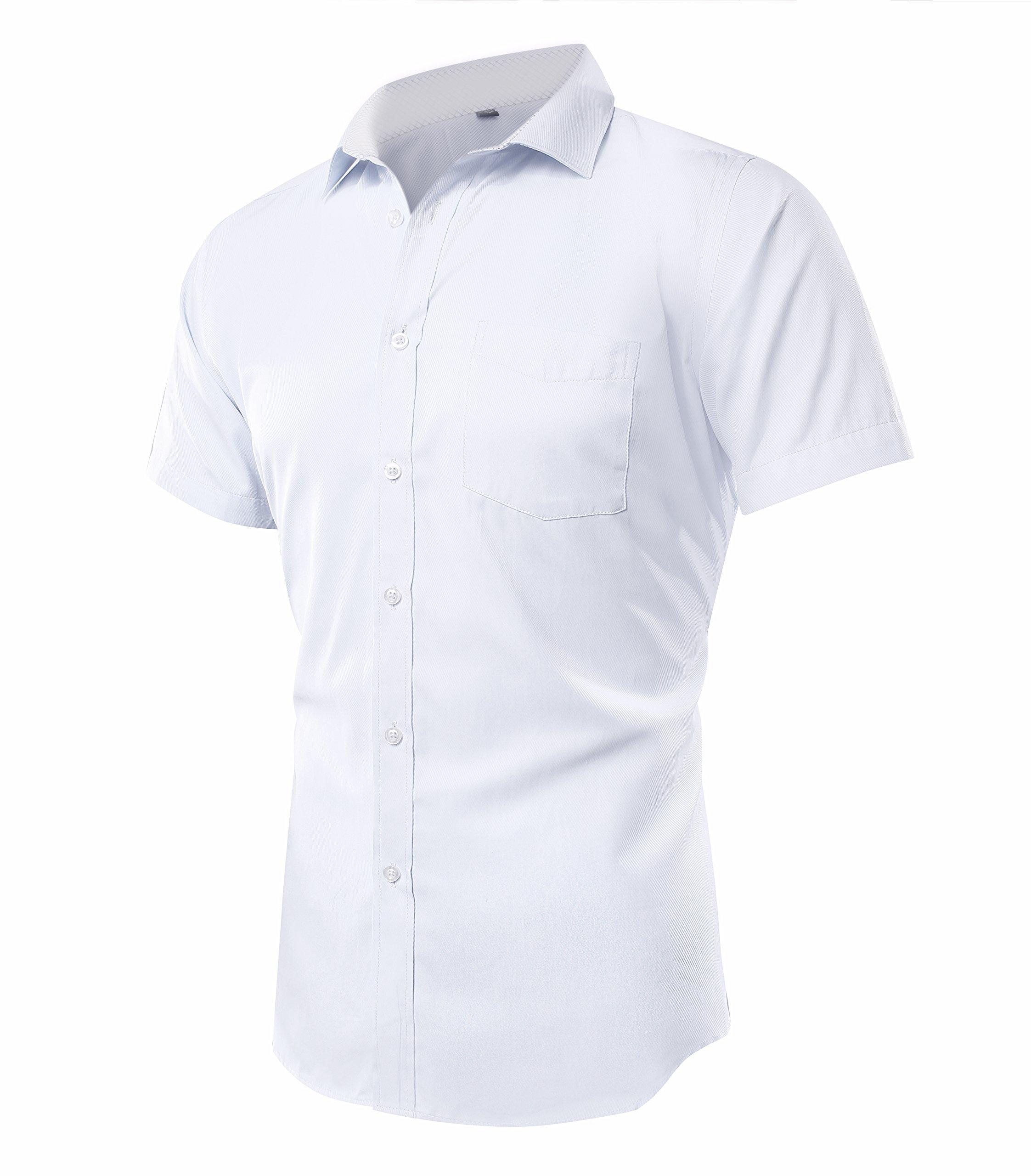 Musen Men Short Sleeve Dress Shirt Slim Fit Solid Shirts with Pocket White 41 by Musen Men (Image #2)