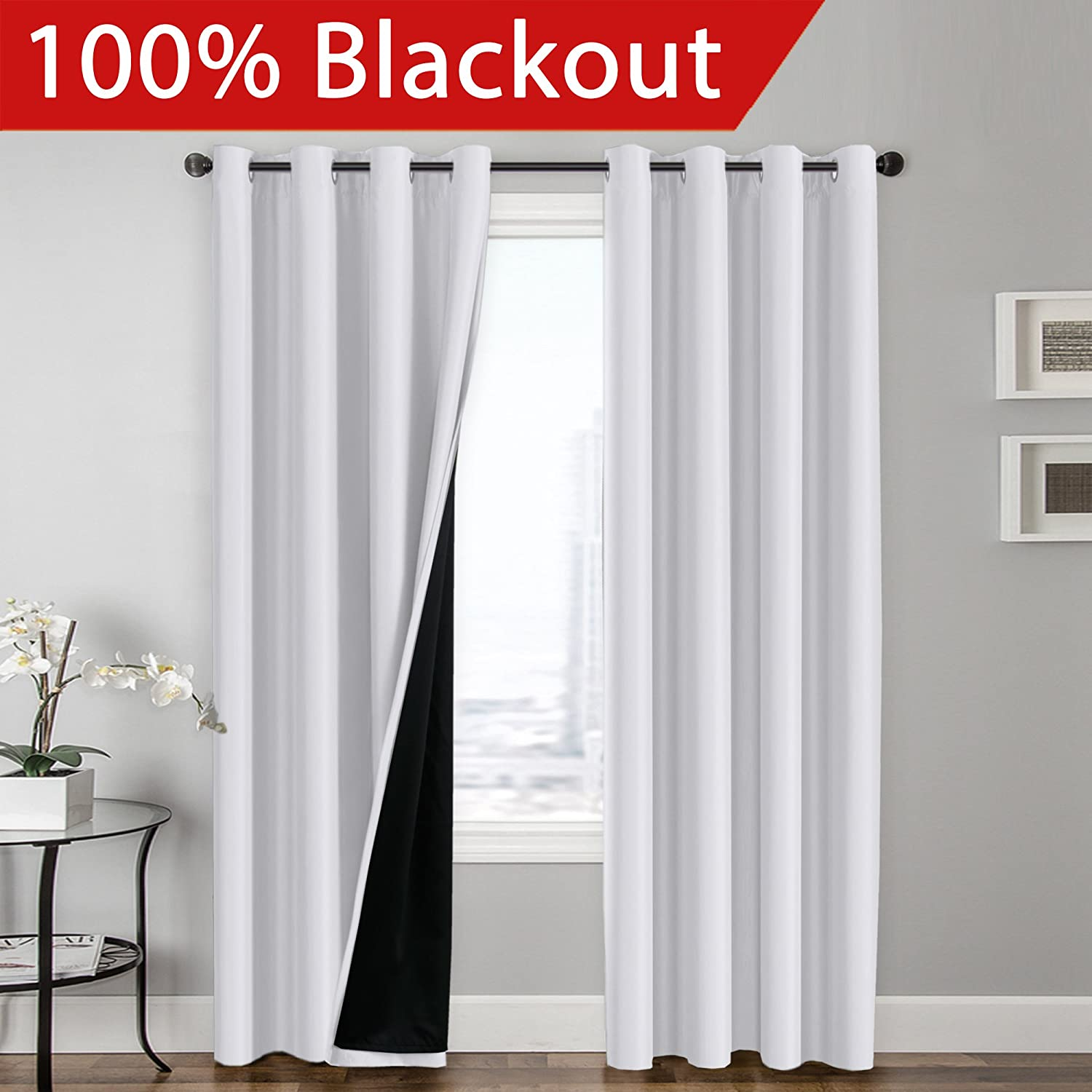 FlamingoP Full Blackout White Curtains Faux Silk Satin with Black Liner Thermal Insulated Window Treatment Panels, Grommet Top