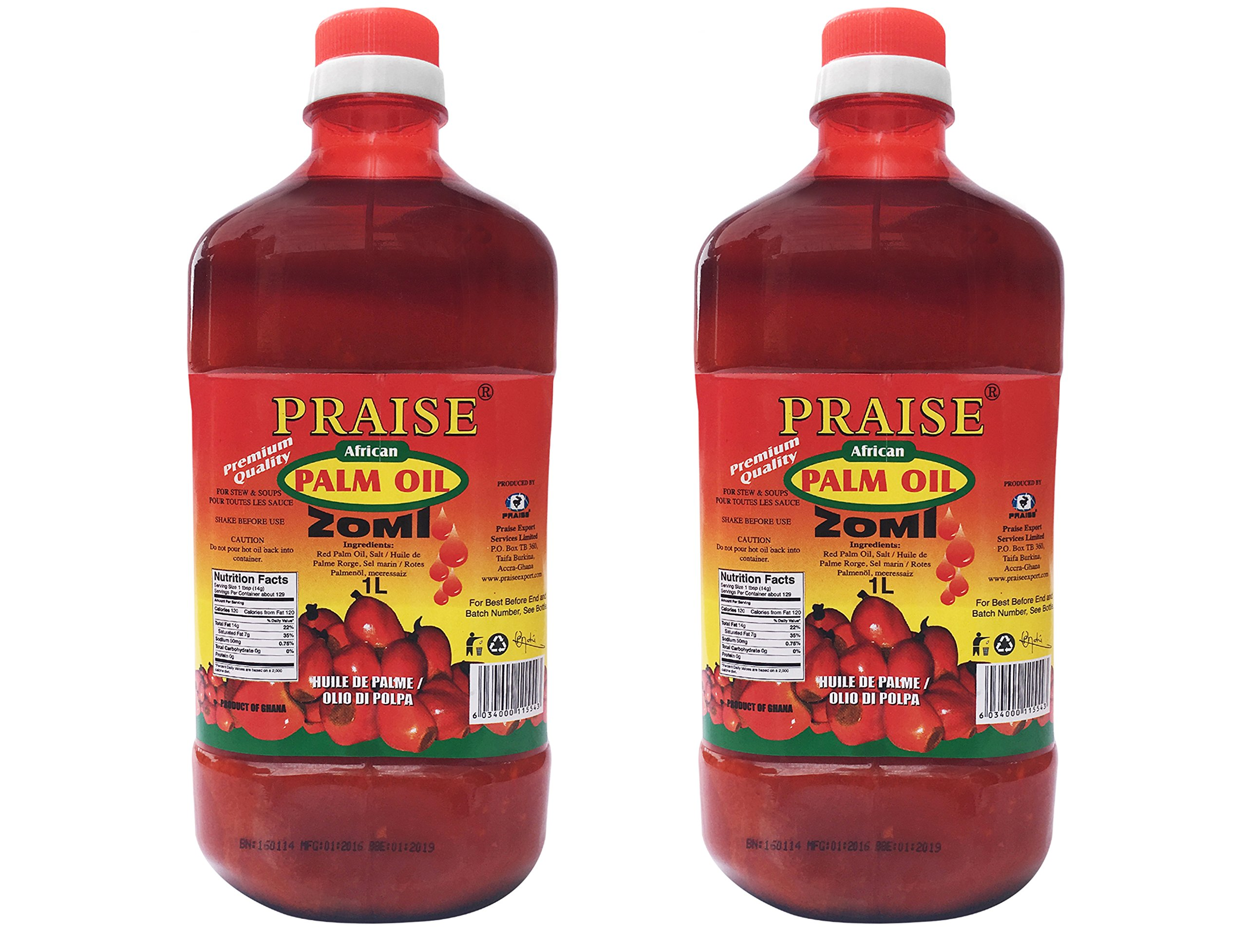 Praise Red Palm Oil, 1- Liter (Pack of 2) - Zomi by Praise