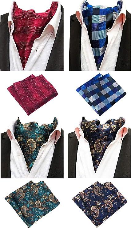 HISDERN Cravat Ascot Tie Combo for Men Neck Scarf and Pocket Square 3-Pack Set