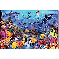 Melissa & Doug Underwater Floor Puzzle, Extra-Thick Cardboard Construction, Beautiful Original Artwork, 48 Pieces, 60.96 cm × 91.44 cm