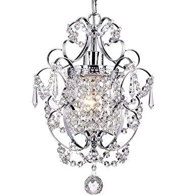 Garwarm Modern Crystals Chandeliers, Small Chandelier Pendant Lighting,Ceiling Lights Fixtures for Living Room Bedroom Restaurant Porch Dining Room,Chrome,1-Light