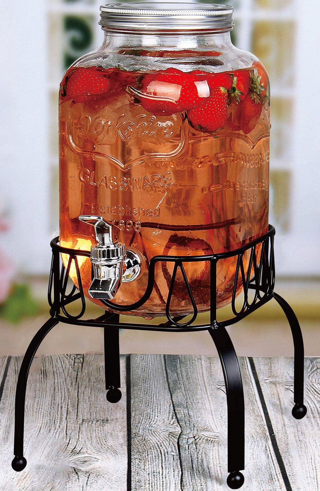 Estilo EST3088 on Metal Stand with Leak Free Spigot Single Beverage Drink Dispenser, 1 Gallon, Clear