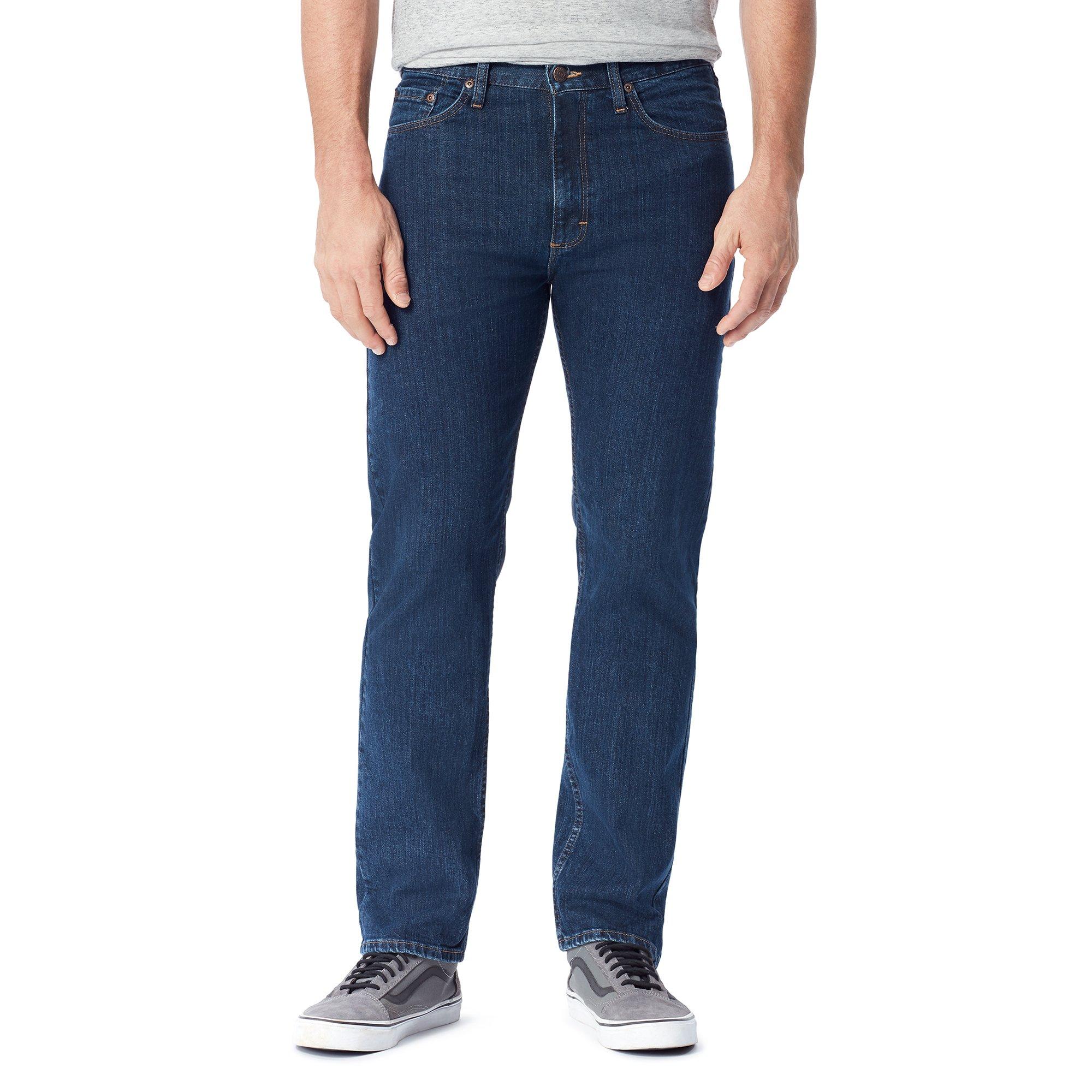 Wrangler Authentics Men's Big and Tall Classic 5-Pocket Regular Fit Jean, Dark Indigo Flex, 34x28