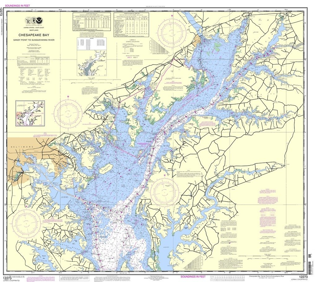 NOAA Chart 12273: Chesapeake Bay Sandy Point to Susquehanna River