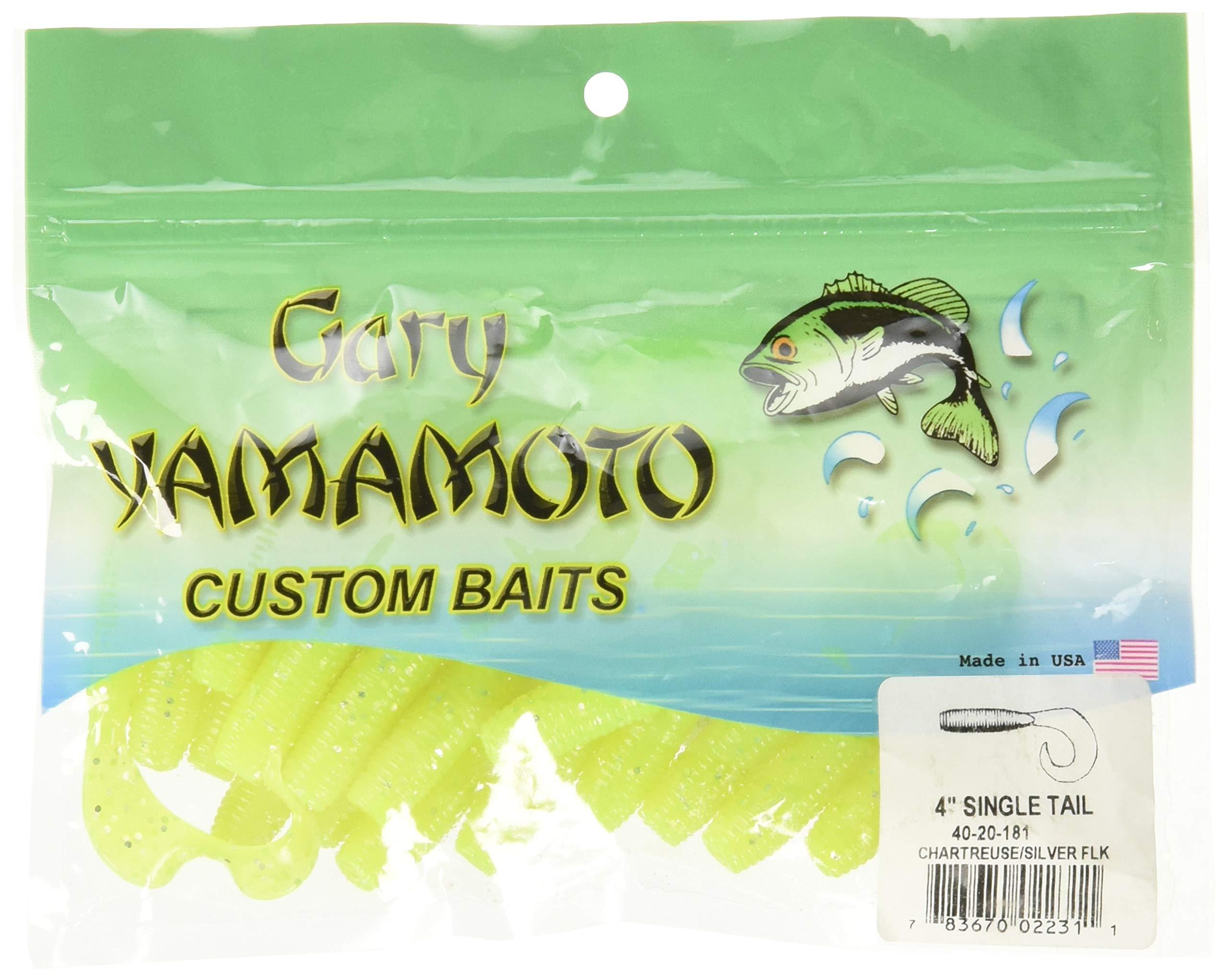 Yamamoto Single Tail Grub 4'', Chartreuse w/Silver