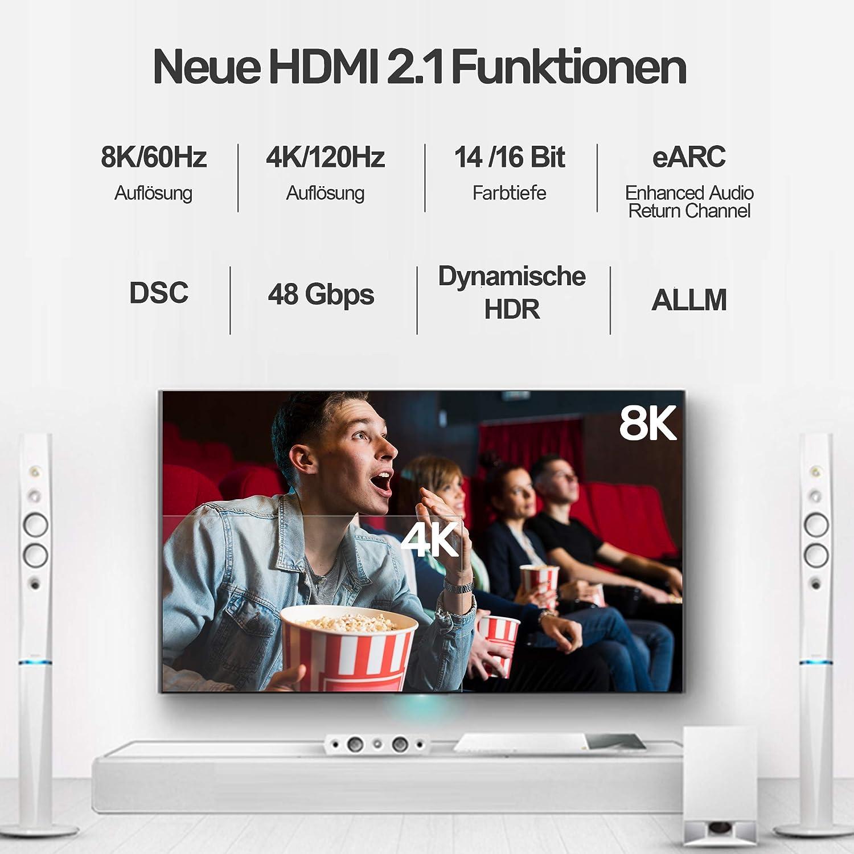 Unitek 8K HDMI v2.1 Cable 1.5 m Ultra High Speed 8 K @ 60 Hz y 4 K @ 120 Hz, CEC 2.0, Dinámico HDR 10 +, Dolby Vision, eARC, UHD II