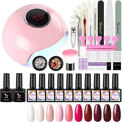 Shelloloh 10pcs Kit Uñas de Gel Pintauñas Esmalte Semipermanente Soak off 10ml Lámpara LED/UV Uñas 24W Secador de Uñas Base Coat Top Coat Manicura Kit: Amazon.es: Belleza
