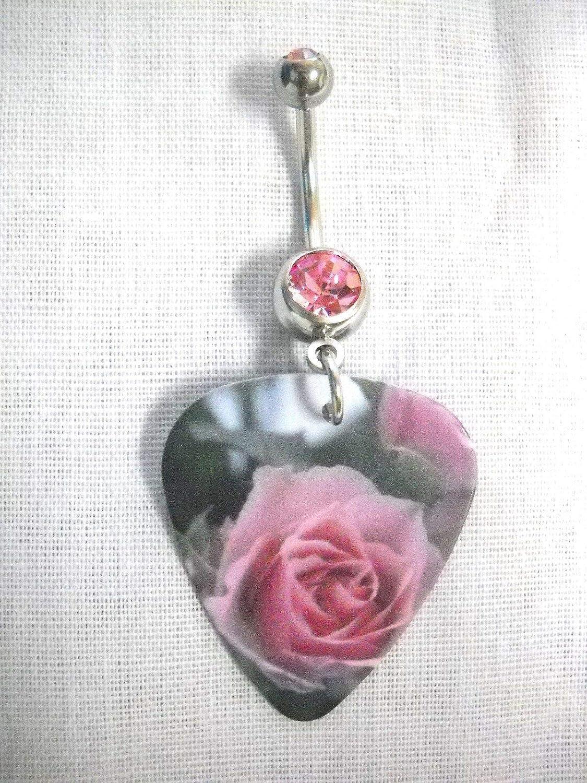Open Mauve//Pink Rose Flower Color Printed Guitar Pick 14g Pink Belly Ring KEZ-2822