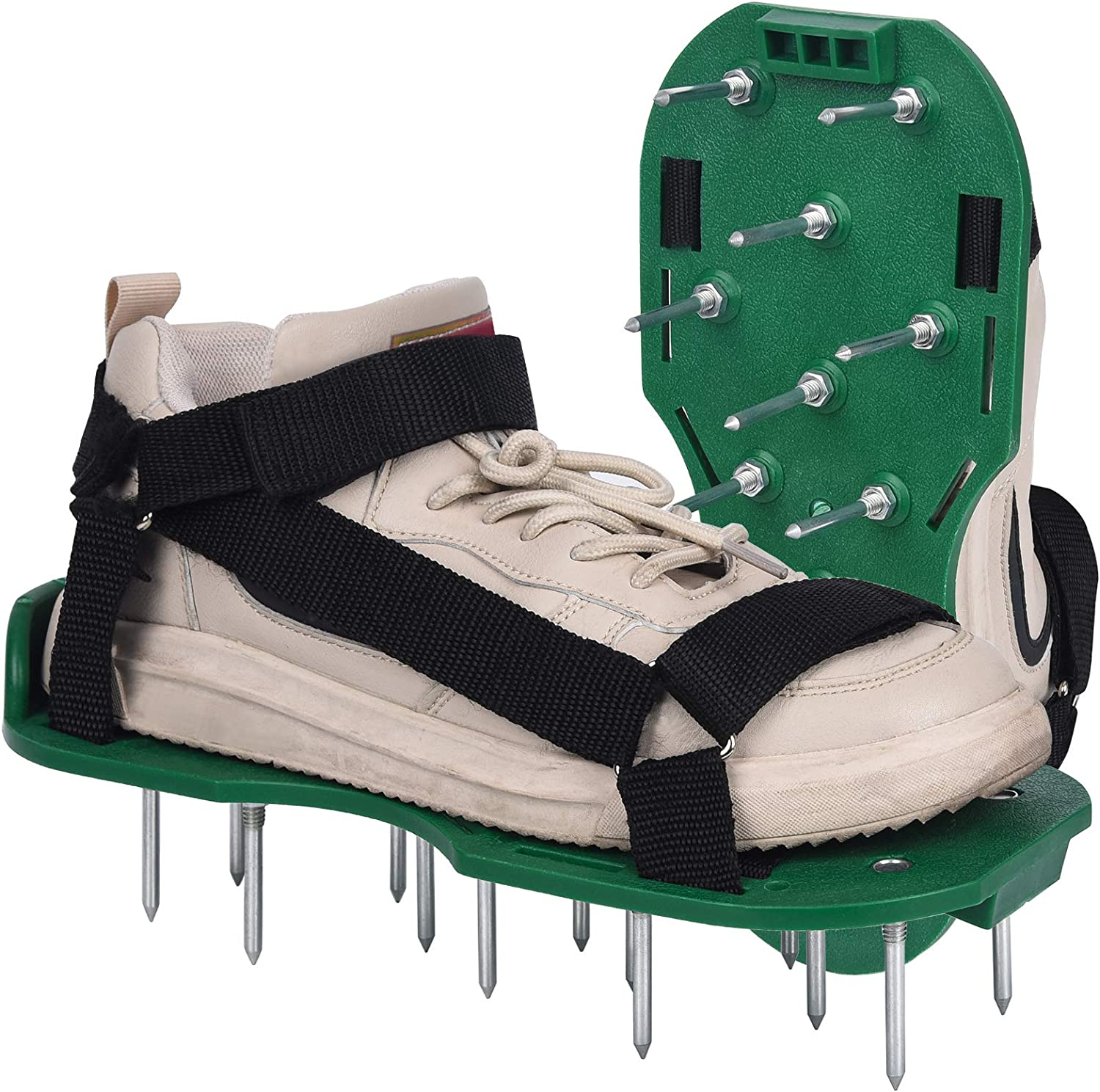 Lawn Aerator Shoes with Hook & Loop Straps, One-Size-Fits-All Manual Lawn Aerators, Heavy Duty Spiked Sandals Soil Aeration Shoes for Yard Patio Lawn Garden