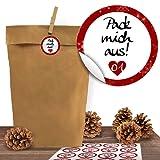 """24 Kraftpapiertüten mit 24 weihnachtlichen Aufklebern """"Liebevolle Botschaften"""" zum Verschließen als Weihnachts-Geschenktüte zum Basteln und Befüllen"""