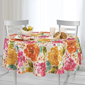 Elrene Home Fashions Evelyn Floral Spring/Summer Stain Resistant Spill-Proof Indoor Outdoor Tablecloth,70