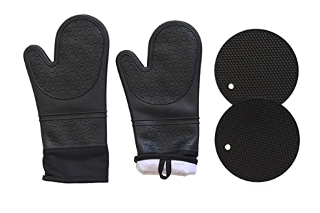Amazon.com: Qs INN Silicone Oven Mitts Cotton Lining Heavy ...