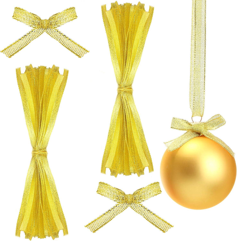 Geosar 100 Pieces Christmas Ornament Ribbon Hangers Hand Tied Ribbons Christmas Decoration Hangers Christmas Ornament String Hangers for Christmas Holiday Decor (Gold)