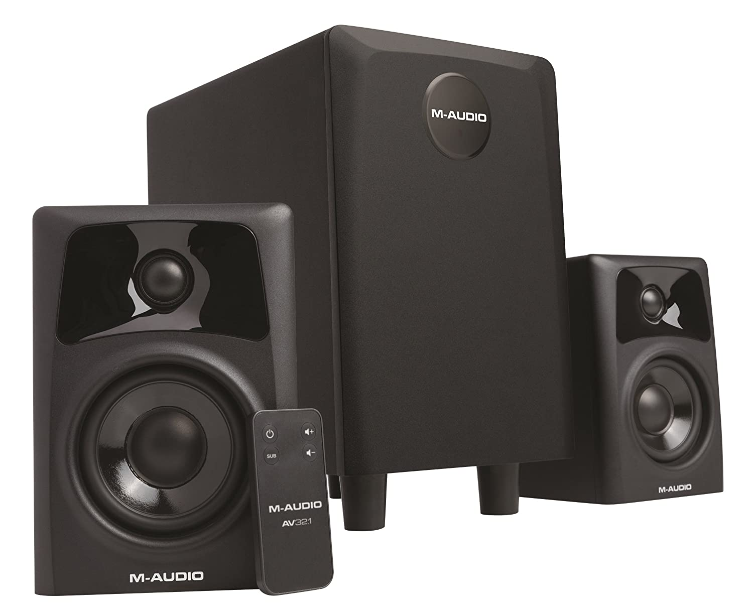 M-Audio AV32.1 | Professional Desktop Multimedia Audio-Monitor Pair & Subwoofer (3-inch Woofer / 6.5-inch Subwoofer)