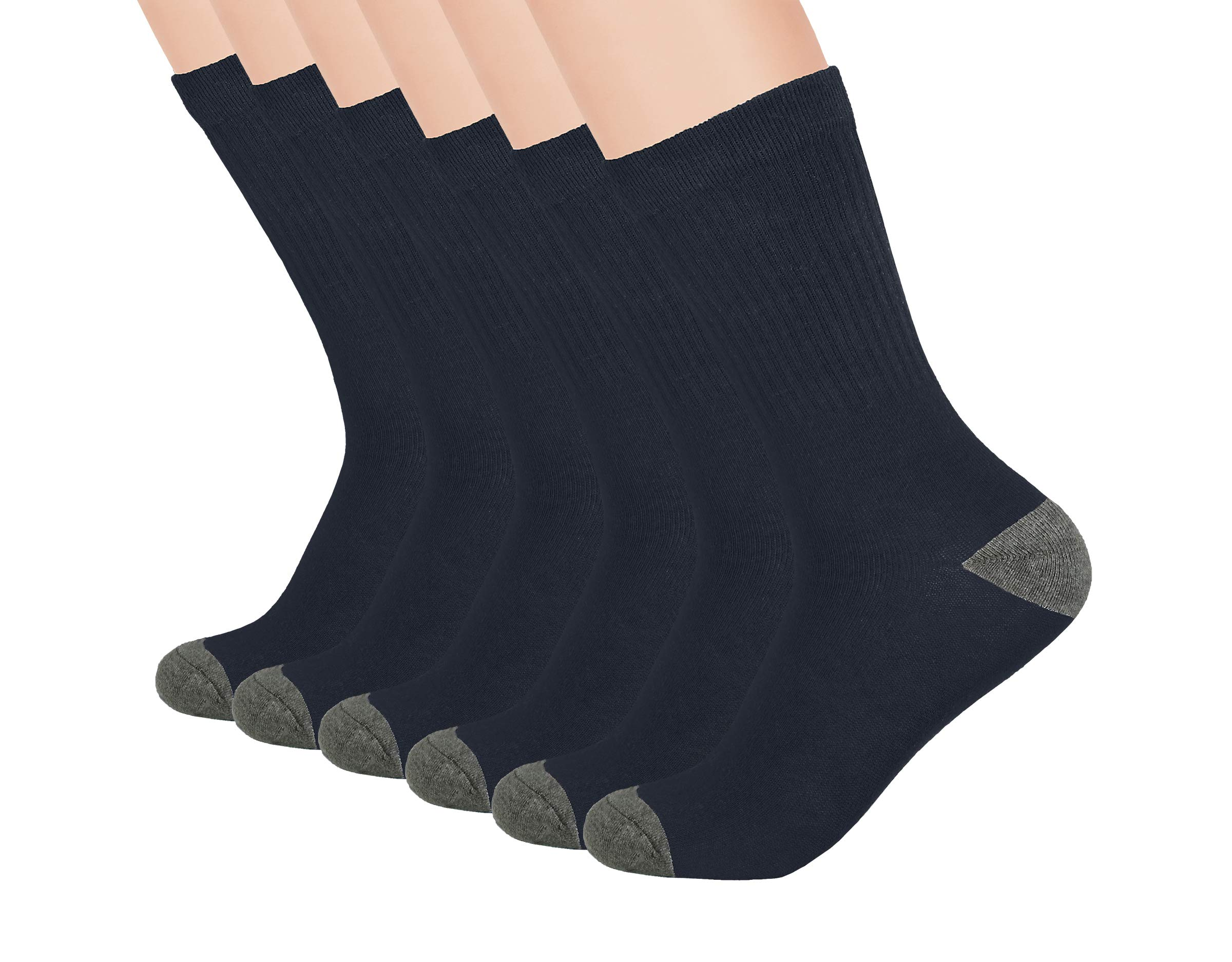 Boys Crew Athletic Ribbed Socks - School Uniform Socks-Breathable, Cushioned - 3 and 6 Pack - White, Navy, Black - by Topfit