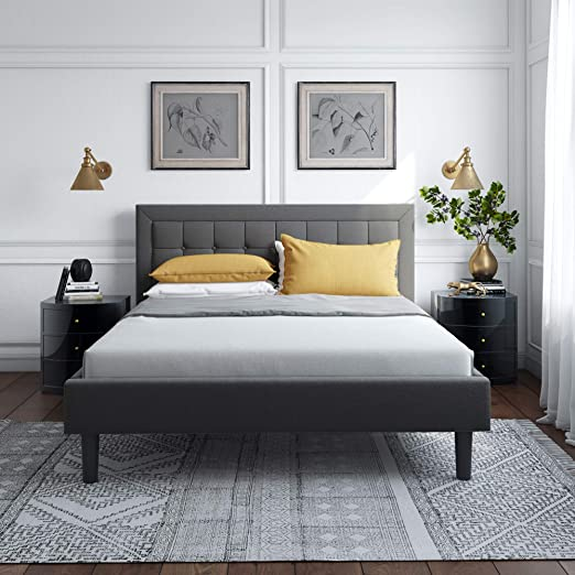 Amazon Com Vibe King Upholstered Platform Bed Mattress Foundation Durable Slat And Center Support Grey Kitchen Dining