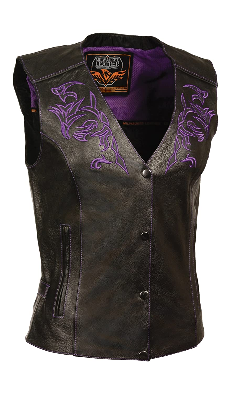 Black//Purple, Medium Milwaukee Womens Leather Vest