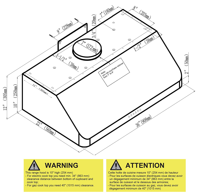 Amazon.com: Ancona Advanta UC Chef II 900 CFM Under Cabinet Range Hood,  36 Inch: Appliances