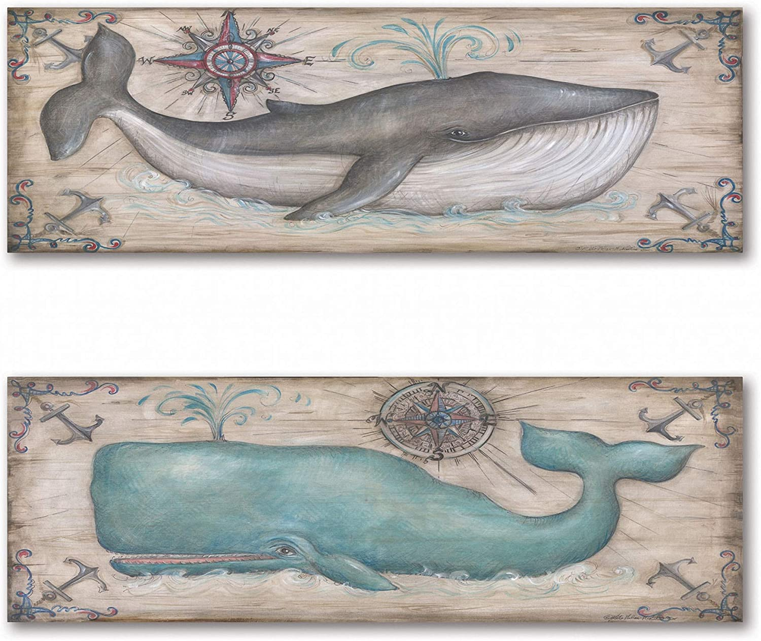 Gango Home Décor Cute, Retro Grey and Teal Whale Prints; Nautical Decor, Two 18X6 Mounted Prints