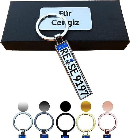 B4p Schlüsselanhänger Kennzeichen Nummernschild Auto Kfz Individuell Als Geschenk Für Autoliebhaber Autofans Männer Mini Mit Namen Personalisiert Auto
