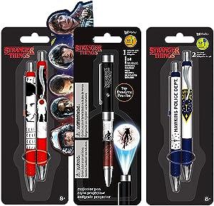 Stranger Things Pen Set Stranger Things School Supplies Bundle - 5 Pack Stranger Things Pens for Stranger Things Party Decorations (Stranger Things Office Decor)