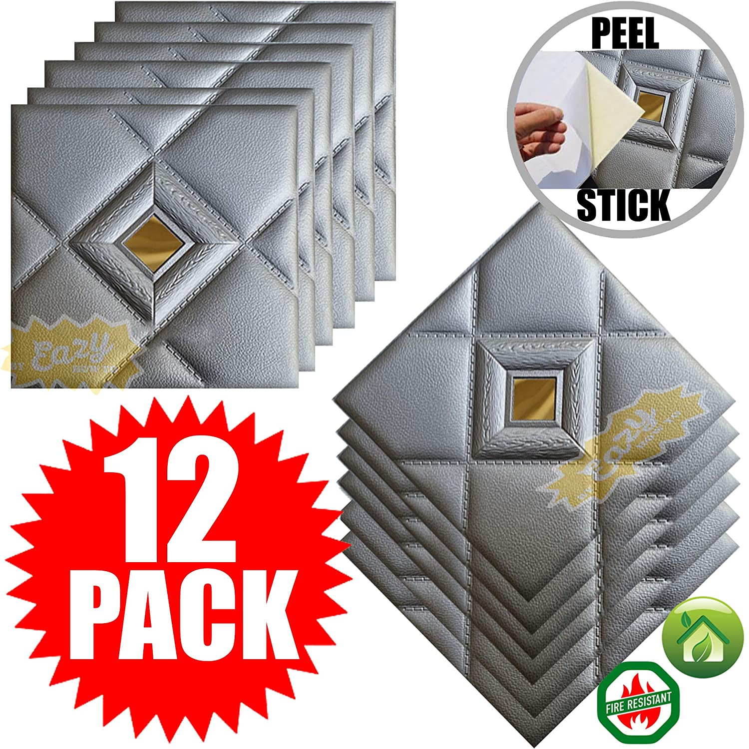 Chester Metallic Siver Peel and Stick Ceiling Tiles 12 Pieces 30cm x 30cm Easy Installation Textured Panels