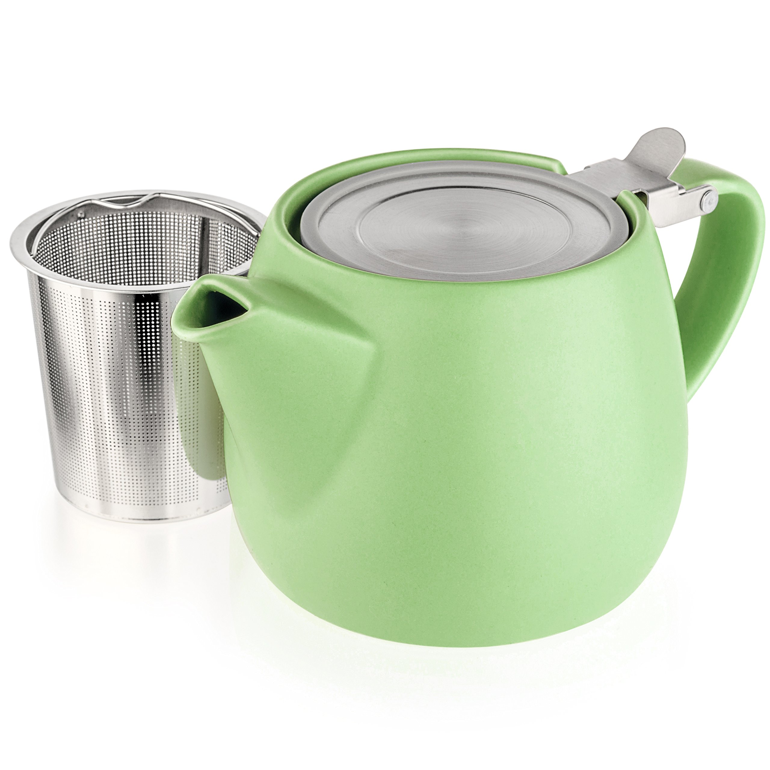 Tealyra - Pluto Porcelain Small Teapot Lime - 18.2-ounce (1-2 cups) - Matte Finish - Stainless Steel Lid and Extra-Fine Infuser To Brew Loose Leaf Tea - Ceramic Tea Brewer - 540ml