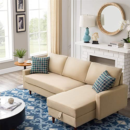 84 Pull Out Sleeper Sectional Sofa, 3 Seat L Shaped Sofa Set Corner Sofa Bed with Storage.