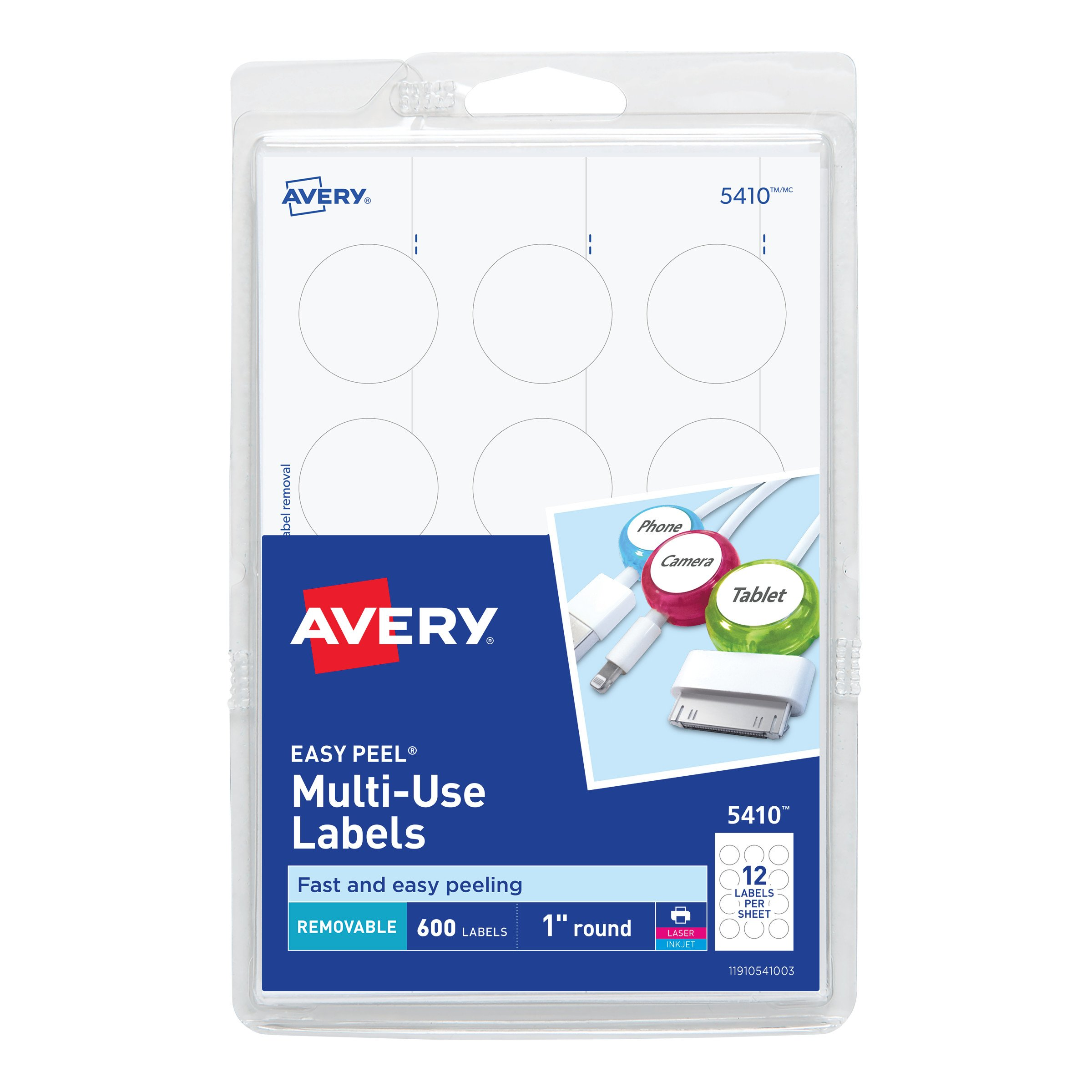 Avery Self-Adhesive Removable Labels, 1-Inch Diameter, White, Pack of 600 (5410)