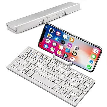 c03b7e63df7 Mini Folding Bluetooth Keyboard, Raydem Portable Wireless Keyboard with  Stand Holder, Ultra Thin Pocket