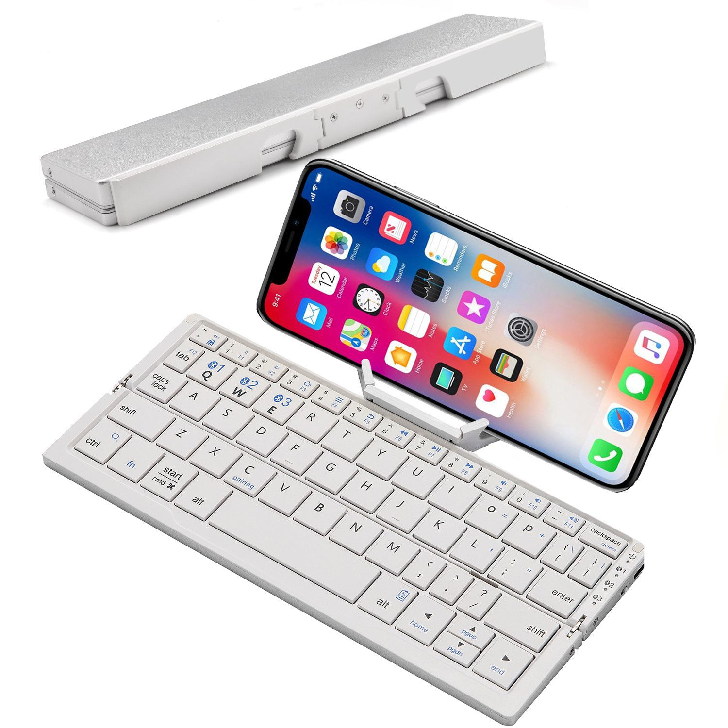 Mini Folding Bluetooth Keyboard, Raydem Portable Wireless Keyboard with Stand Holder, Ultra Thin Pocket-sized Aluminum Alloy Base with Carry Pouch for iPad, iPhone, Tablets, iOS, Android, Windows