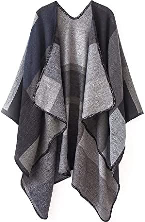 ff4575958 Women Plaid Shawls and Wraps,Winter Poncho Cape,Soft Cashmere  Cloak,Oversized Long