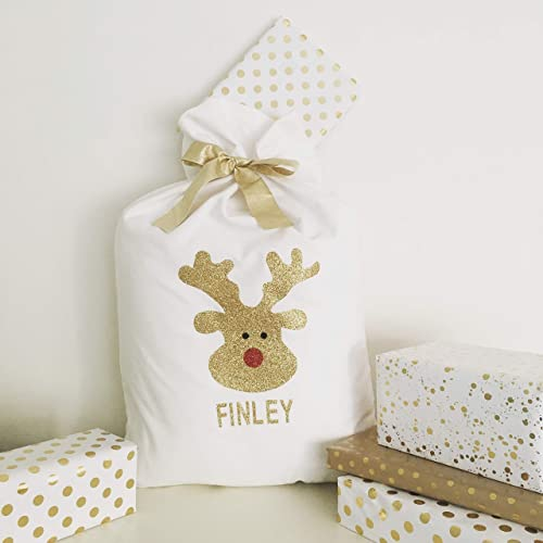 48d7bd7522b9 Image Unavailable. Image not available for. Color  Personalised Glitter  Rudolph Christmas ...