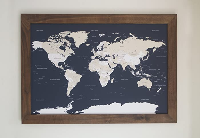 Amazon walnut navy world map large push pin travel map walnut navy world map large push pin travel map framed world map in handcrafted gumiabroncs Images