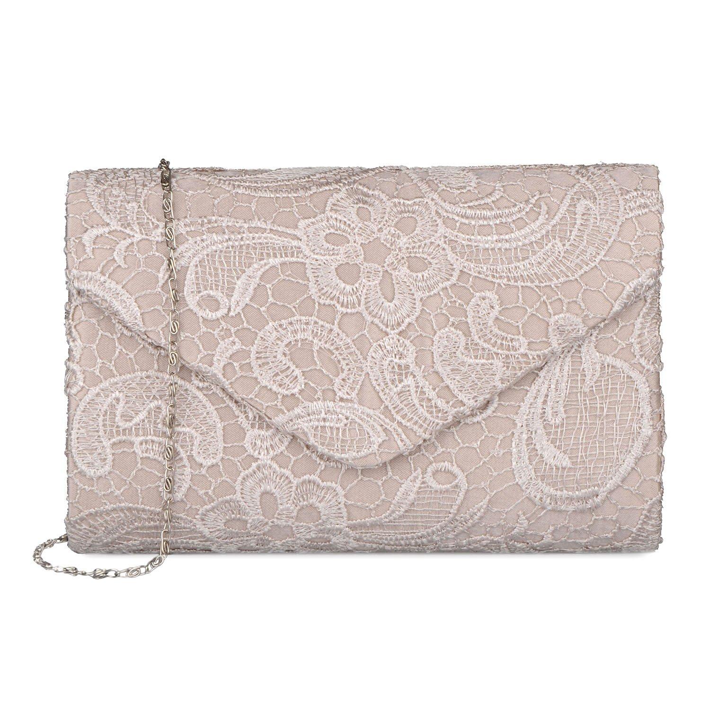 Baglamor Women's Elegant Floral Lace Envelope Clutch Evening Prom Handbag Purse
