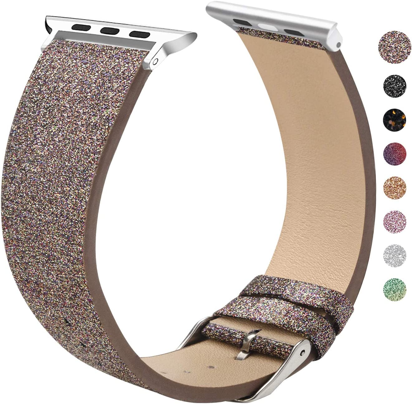 EurCross Watch Band Compatible with Apple Watch 38mm 40mm Shiny Strap Replacement Wristband for Women Glitter Bands Compatible with iWatch Series 5/4/3/2/1 (Coffee 38mm/40mm)